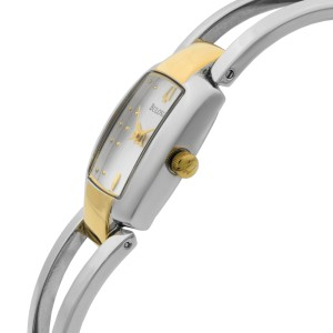 Bulova Silver Dots Dial Two Tone Steel Quartz Ladies Bangle Watch 98T81