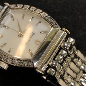 Bulova Diamond White MOP Sticks Dial Steel Quartz Ladies Watch 96R39