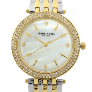 Kenneth Cole Two Tone Steel MOP Dial Crystal Quartz Ladies Watch KC50018001