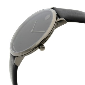 Movado Modern 47 Ultra Slim Black Leather Strap Quartz Ladies Watch 0607391