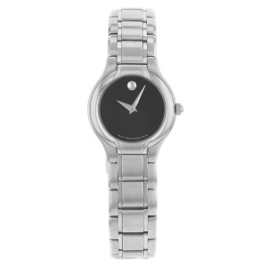Movado Sprita Black Dial Steel Analog Quartz Ladies Watch 604685