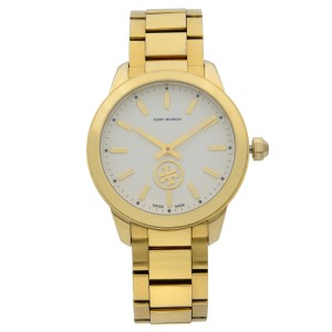 Tory Burch Collins Gold Tone Stainless Steel Cream Quartz Ladies Watch TB1200