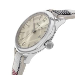 Burberry The Classic Round Silver Guilloche Steel Quartz Ladies Watch BU10113