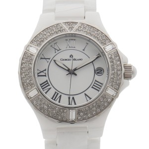 Giorgio Milano Ceramic Date White Dial Quartz Ladies Watch 863CWST01