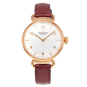 Shinola The Canfield Brown Leather Steel White Dial Ladies Quartz Watch 20018133