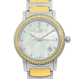 Charriol Parisii 0.40cttw Diamond Steel MOP Dial Ladies Watch P33SY2D.921.001