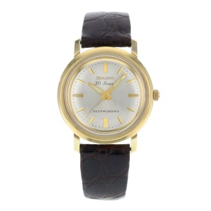 Bulova M5 Silver Dial 14K Yellow Gold Brown Leather Self Winding Mens Watch 31mm