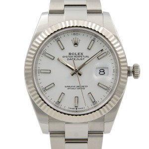 Rolex Datejust 41 Steel Gold White Sticks Dial Automatic Mens Watch 126334