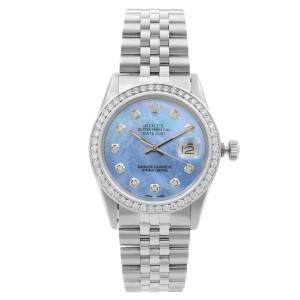 Rolex Datejust Steel 1.20 Cttw Custom Diamond Blue Dial Mens 1984 Watch 16014
