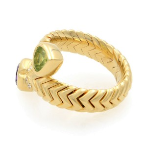 Bvlgari 18k Yellow Gold Diamond Spiga Amethyst and Peridot Bypass Ring Size 6