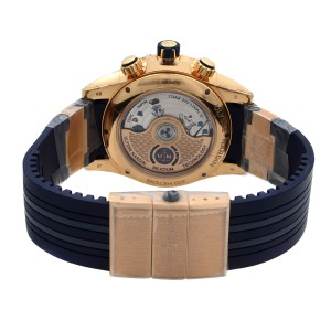Ulysse Nardin 18K Rose Gold Rubber Blue Dial Automatic Mens Watch 1502-151/93