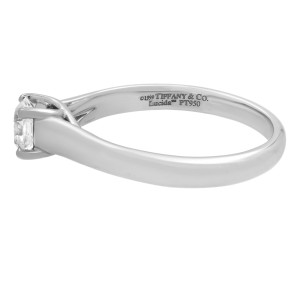 Tiffany & Co Platinum Lucida Solitaire Diamond Engagement Ring 0.41cttw Size 6