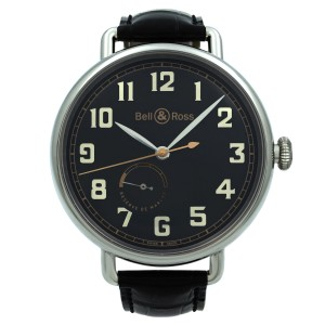 Bell & Ross Heritage Steel Power Reserve Black Dial Men Watch BRWW197-HER-ST/SCR