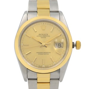 Rolex Date 18K Yellow Gold Steel Champagne Dial Automatic Unisex Watch 15223