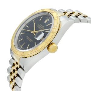 Rolex Datejust 36mm TurnOGraph Steel 18K Yellow Gold Black Dial Mens Watch 16263