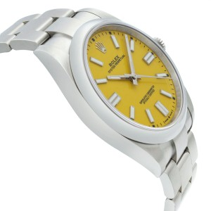 Rolex Oyster Perpetual 41mm No Date Steel Yellow Dial Automatic Men Watch 124300