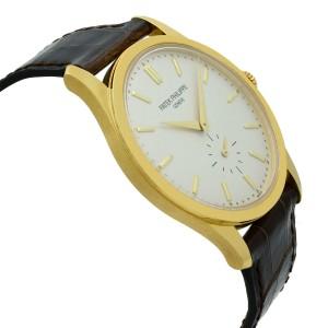 Patek Philippe Calatrava 18K Gold Silver Dial Hand-Wind Mens Watch 5196J-001