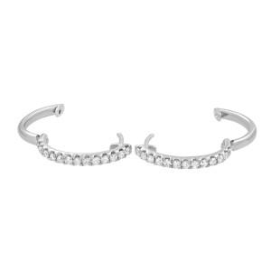 Rachel Koen 18K White Gold 0.58cttw G VS1 Round Cut Diamond Hoop Earrings