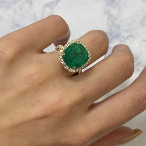 18K Yellow Gold Cushion 9.88ct Green Emerald Diamond Halo Engagement Ring SZ 6