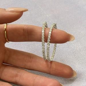 Rachel Koen 18K White Gold Pave Diamond Small Oval Hoop Earrings 3.30cttw