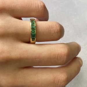 Rachel Koen 14K Yellow Gold Green Emerald Band Ring 0.81cttw Size 6