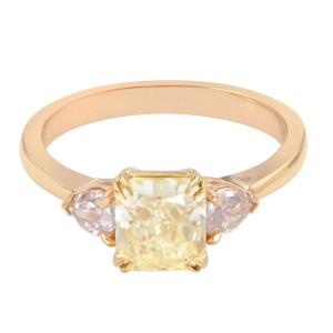 Rachel Koen 18K Yellow Gold Asscher and Pear Shaped Three- Stone Ring 1.37cttw