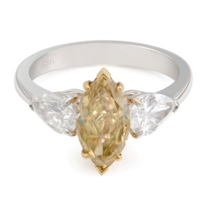 18K Two Tone Gold Fancy Marquise Three-Stone Ring 1.56ct Size 6.25