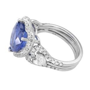 18K White Gold Natural Blue Sapphire & Halo Diamonds Art Deco Style Ring 5.44ct