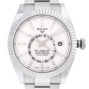 Rolex Sky-Dweller Chronometer 18k Gold Steel White Dial Mens Watch 326934WSO