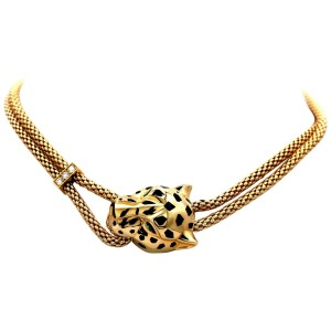 Cartier 18K Yellow Gold Panthere de Cartier Necklace 0.16cttw