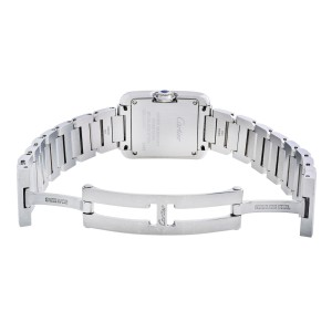 Cartier Tank Anglaise Steel Silver Guilloche Dial Quartz Ladies Watch W5310022