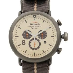 Shinola The Runwell Chrono Gunmetal Steel Beige Dial Quartz Mens Watch 10000145
