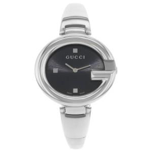 Gucci Guccissima Steel Black Oval Dial Quartz Ladies Bangle Watch YA134301