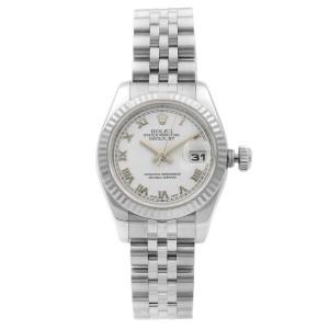 Rolex Datejust Steel 18K White Gold White Roman Automatic Ladies Watch 179174