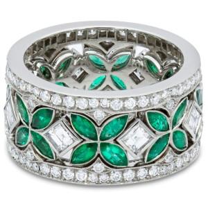Rachcel Koen Platinum Green Emerald Diamond Eternity Set Of 3 Ring Size 6