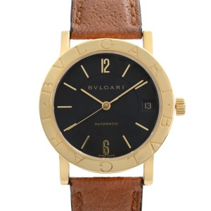 Bvlgari 18k Yellow Gold Brown Leather Black Dial Automatic Unisex Watch BB33GL