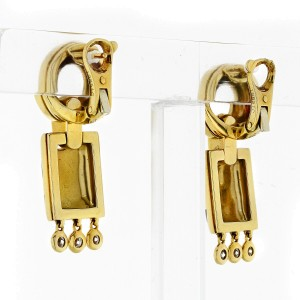 Cartier 18K Yellow Gold Spotted Panther Diamond Dangle Earrings 0.45cttw
