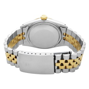 Rolex Datejust 18k Yellow Gold Steel White Dial Automatic Mens Watch 16013