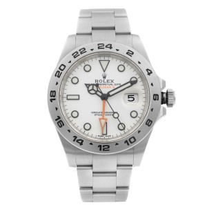 Rolex Explorer II GMT Stainless Steel White Dial Automatic Mens Watch 216570