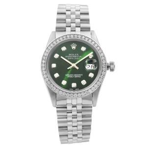 Rolex Datejust Steel 1.20Cttw Custom Diamond Green Dial Mens 1984 Watch 16014