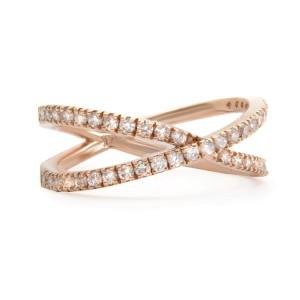 Rachel Koen 14K Rose Gold Diamond Criss Cross Ring Size 7.25 0.54cttw