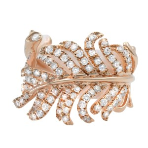Rachel Koen 18K Rose Gold Diamond Feather Statement Ring 1.24Cttw Size 6