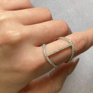 Rachel Koen 14K White Gold Diamond Double Band Ladies 0.64cttw Ring Size 6.5