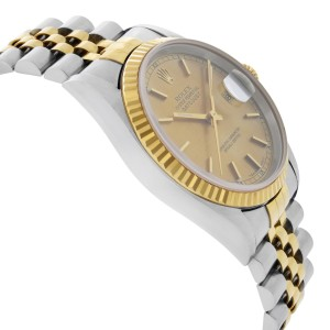 Rolex Datejust 36mm No Holes 18k Gold Steel Champagne Dial Mens Watch 16233