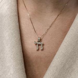 Rachel Koen 18K Yellow Gold Diamond Chai Pendant Necklace 0.28cttw