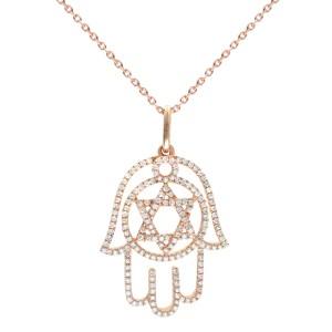 Rachel Koen 18K Rose Gold Diamond Hamsa Ladies Pendant 0.47Cttw