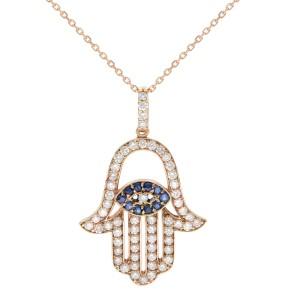 Rachel Koen 18K Rose Gold Diamond & Blue Sapphire Hamsa Pendant 1.01cttw