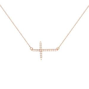 Rachel Koen 14K Rose Gold Diamond Ladies Side-Way Cross Necklace 0.28cttw