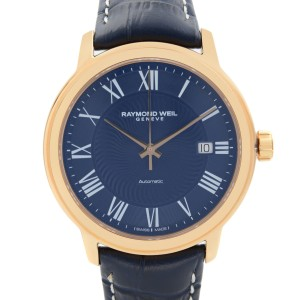 Raymond Weil Maestro Rose Gold PVD Steel Blue Dial Mens Watch 2237-PC5-00508