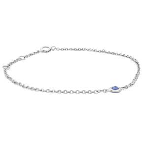 Rachel Koen 14k White Gold Single Bezel Blue Sapphire Ladies Bracelet